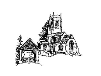 Drawing of the lych gate and St George's, Great Bromley, from the east.