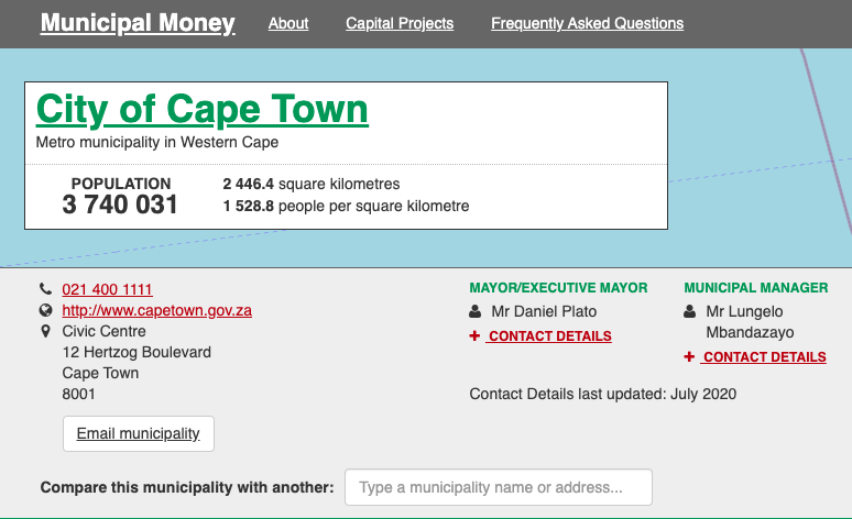 City of Cape Town page before usability review and changes