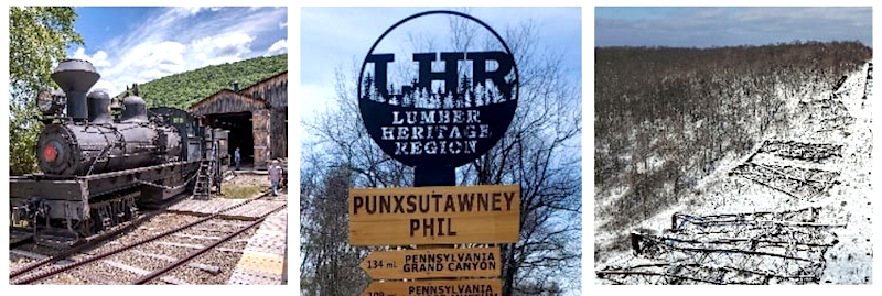 three images highlight attractions in the Lumber region, including historic railroad engines, wayfinding signage and the lacy framework of an former railway trestle, collapsed in the snow