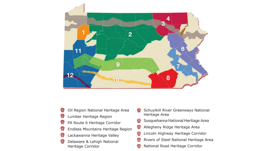 A map of Pennsylvania shows the locations of the Heritage Areas