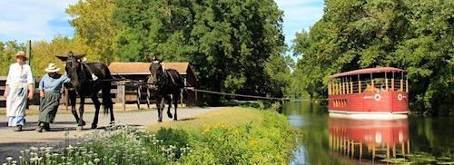 two mules are led along a path, pulling a red canal barge