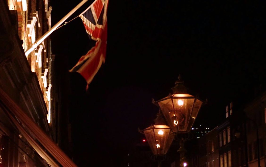 Union flag and gas lamps.