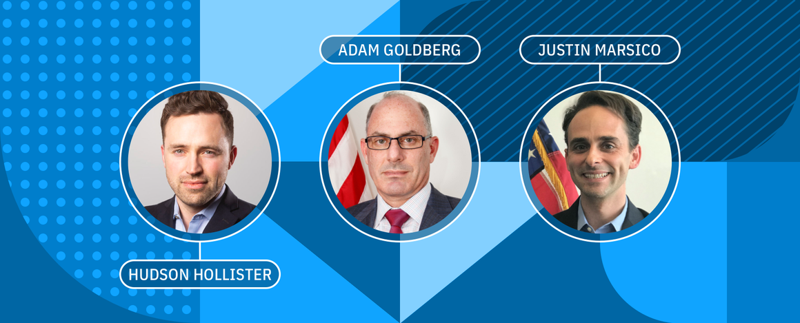 Treasury interview graphic showing Hudson Hollister, Adam Goldberg, and Justin Marsico