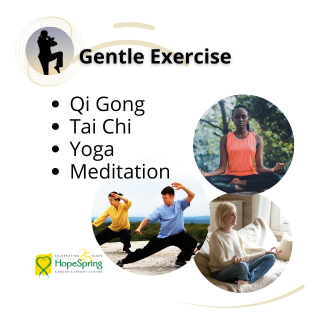 Gentle exercise, Qi Gong, Tai Chi, Yoga, Meditation