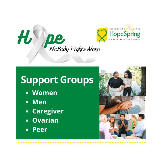 Support Groups for women, men, caregiver, ovarian, peer