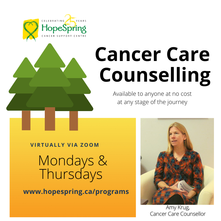 cancer care counselling available to anyone at no cost at any stage of the journey
