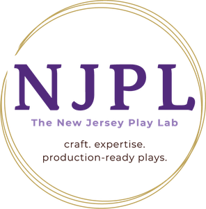 """The New Jersey Play Lab Logo. The logo is the letters """"NJPL"""" in dark purple, with the words """"The New Jersey Play Lab"""" underneath in light purple. It is surrounded by a circle of gold."""
