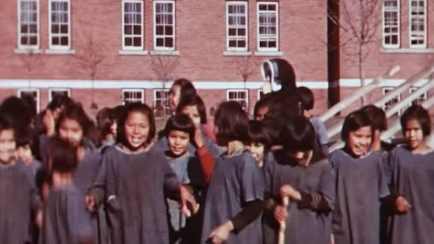 Still frame of footage showing the Kamloops Indian Residential School, circa 1937.