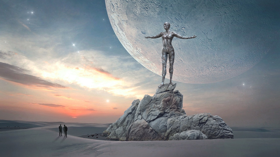 Flip on images to see. Sci-fi image of two people looking at nearby planet.