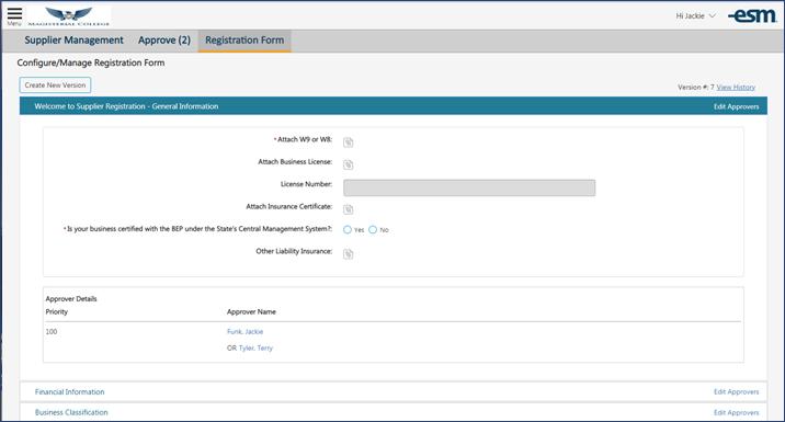 Supplier Management Customizable Registration Form