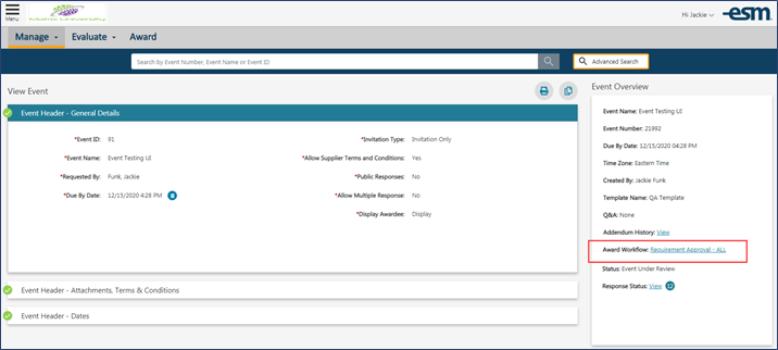 Source Manage  Award Workflow indicator