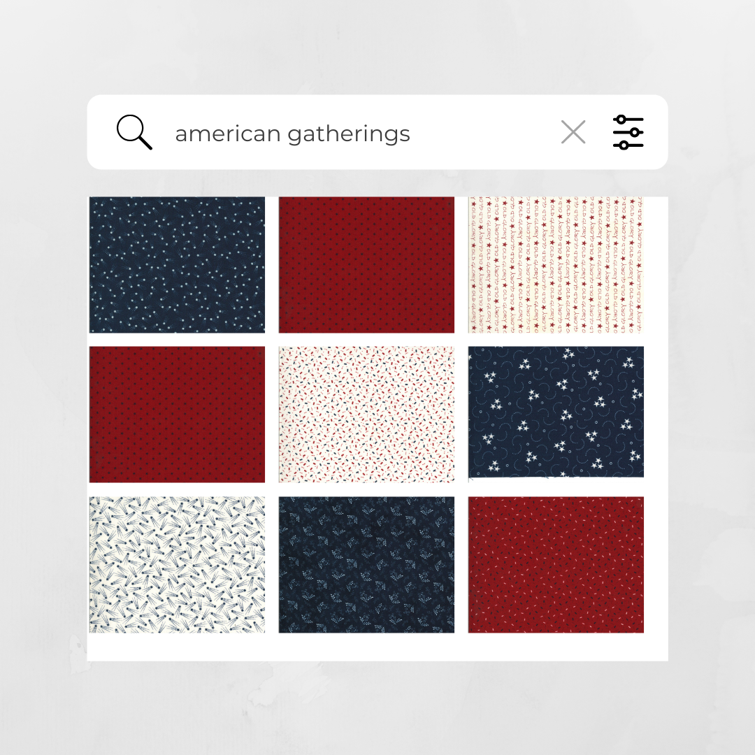 nine photos of fabric, some red, some white, some navy blue.  All have various small scale prints.