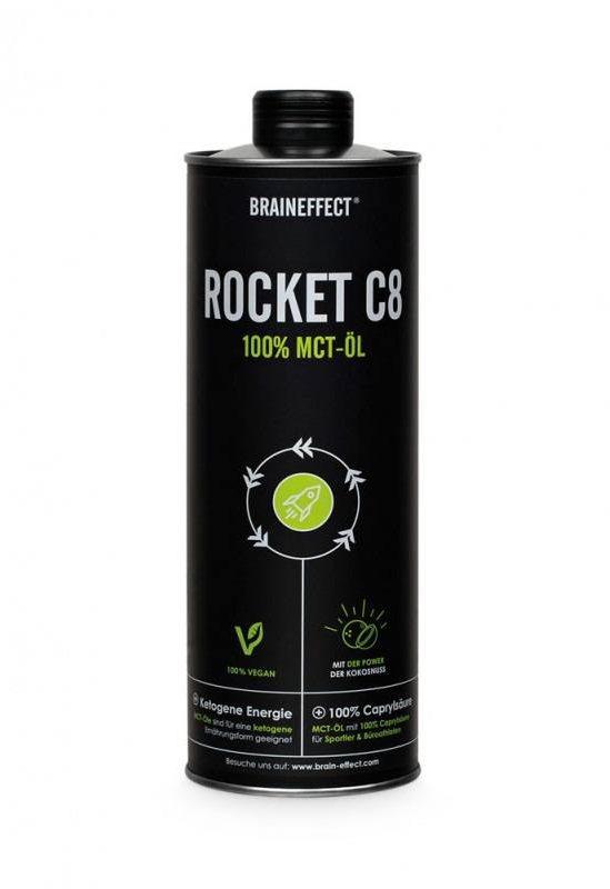 BRAINEFFECT Rocket C8-MCT olje (1 liter - 1000 ml) Ketoner fra kokosnøtter er en 100 % naturlig energikilde – effektiv og konsentrert  • 100 % kaprylsyre (C8-olje) fra kokosnøtter • Gir raskt energi fra ketonlegemer • Kan virke slankende • Smakløs og luktfri • 100 % vegetabilsk • Fra bærekraftig og miljøvennlig produksjon • Et kvalitetsprodukt framstilt i Tyskland  ROCKET C8 (kaprylsyre) kan raskt forsyne kroppen og hjernen med energi. ROCKET C8 er den ideelle energileverandøren for dem som trenger ekstra energi, men ikke ønsker inntak av sukker. Kaprylsyre er konsentrert energi, og det anbefales å begynne med små doser (1 teskje). Ypperlig egnet til fettkaffe (også kjent som Bulletproof-kaffe) og tilsvarende. Ren kaprylsyre gir mest ketoner av noen MCT-olje. Uno Vita AS er norsk enedistributør av BRAINEFFECTs ketogene produkter i Norge …