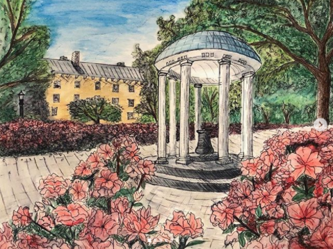 Hand drawn and colored image of the Old Well