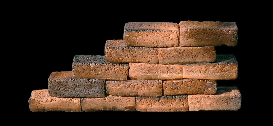 ascending wall made of bread bricks