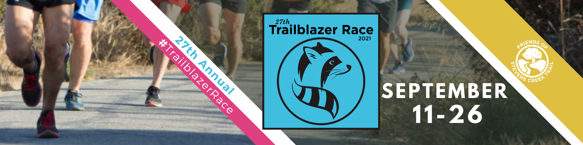 Trailblazer race 2021 banner. Runners' legs on the Stevens Creek Trail feature in the background.