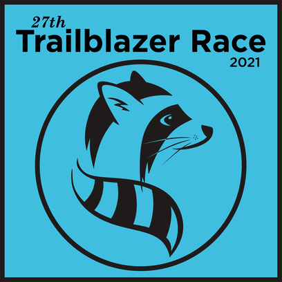 Trailblazer Race 2021 logo showing a black and white stylized raccoon face looking to the right, inside a black circle. All on a teal background.