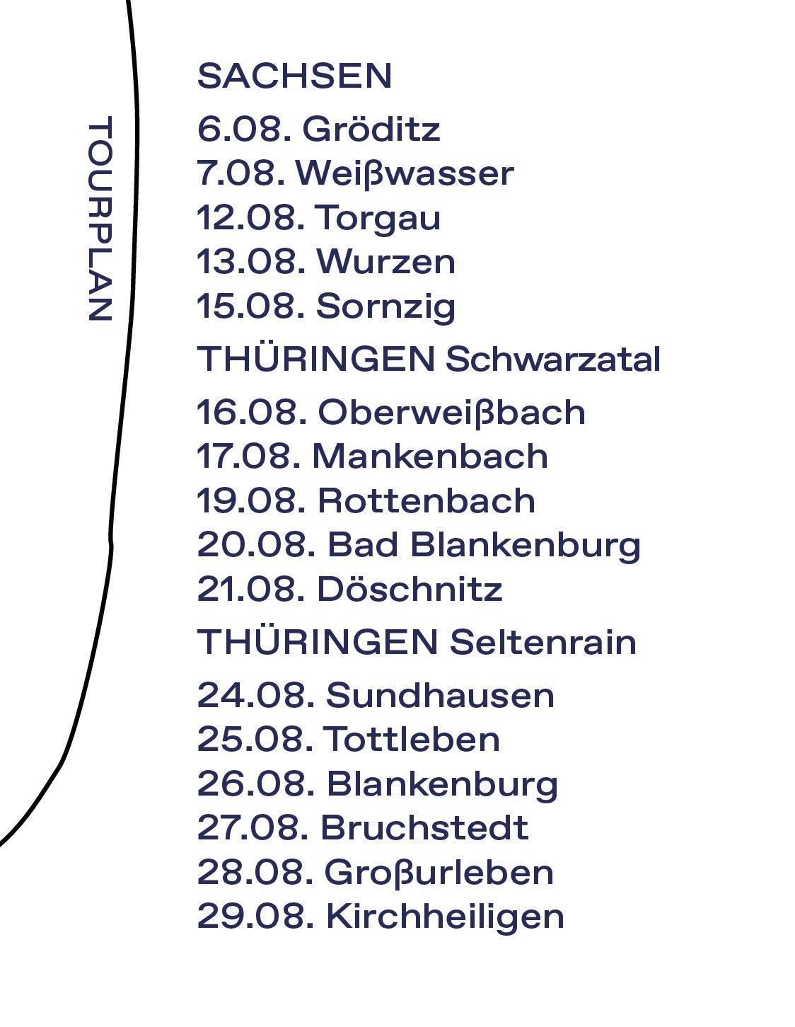 Tourplan Sommer 2021