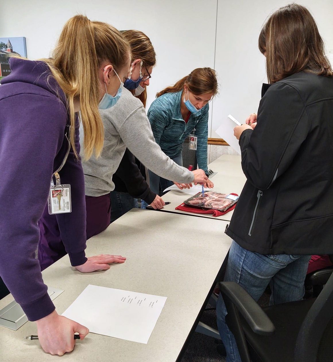 Students gather at a table to look at a cut of meat and determine its quality and grade.