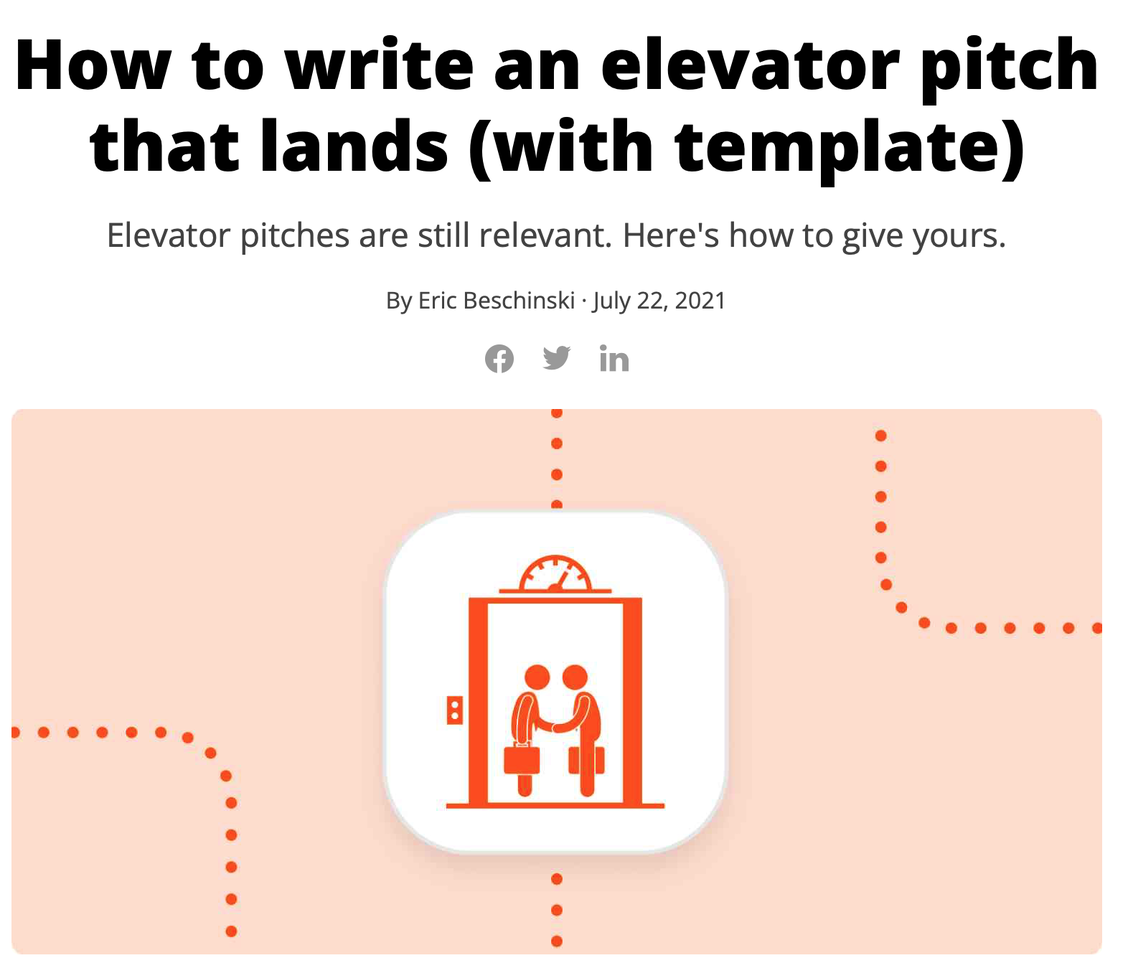 How to write an elevator pitch that lands