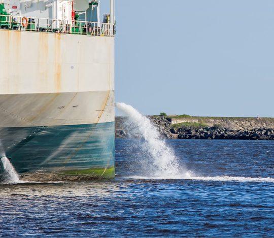 Ballast water from an oil tanker