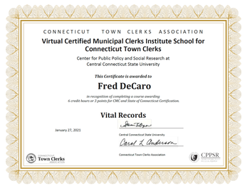 Vital Records Certification from CT Clerks