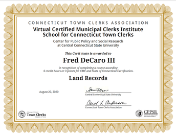 Land Records Certification from CT CLerks