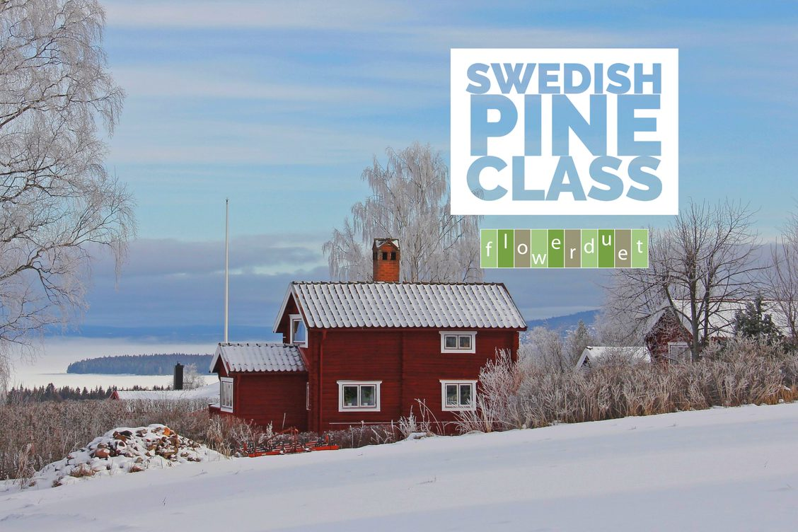 Red farmhouse in snow with text that says Swedish Pine Class