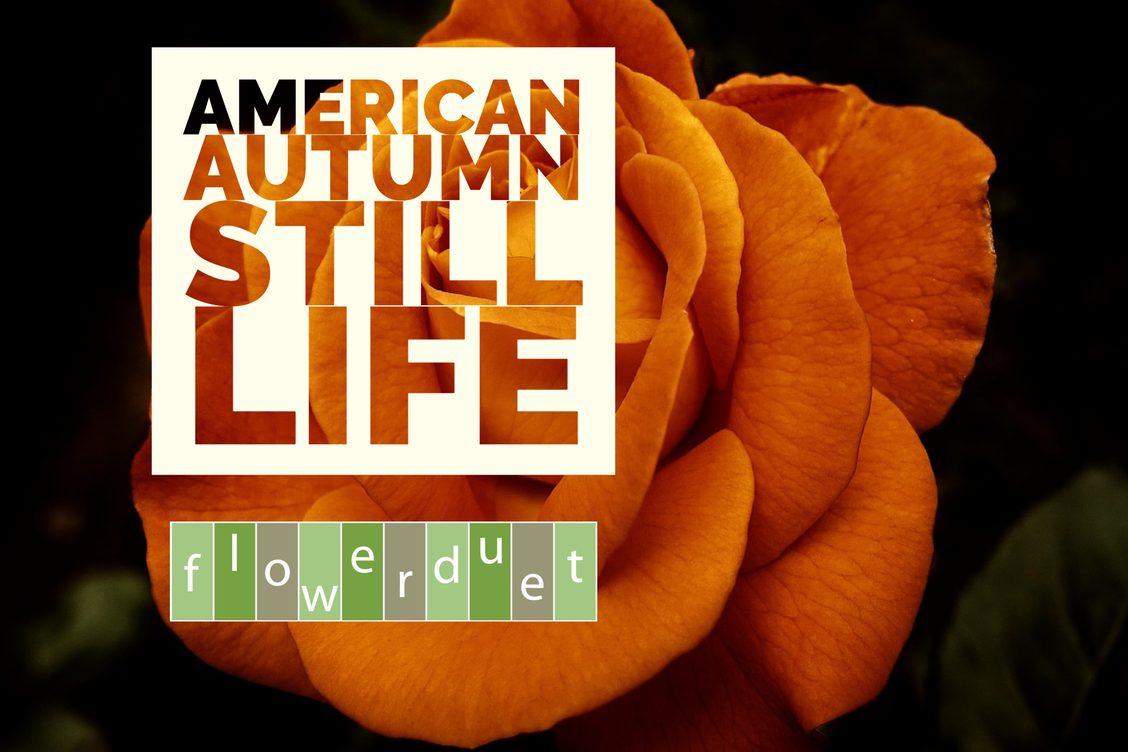 Orange Flower with Text American Autumn Still Life