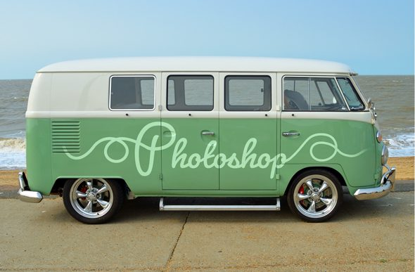 green and white camper van at the beach
