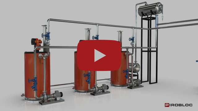 Industrial heating system with connected thermal oil boilers to optimize energy consumption