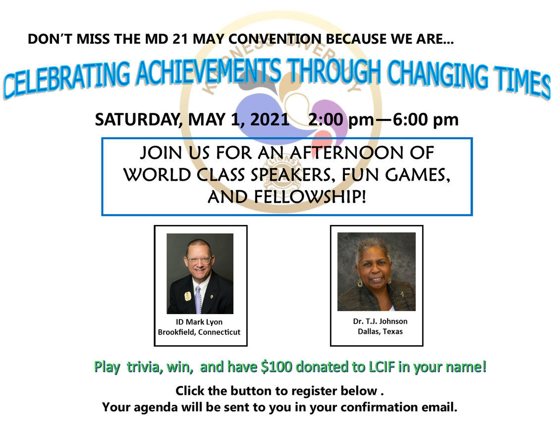 information about the may 1 convention starting at 2 PM. It features trivia, ID Mark Lyon, and Dr. TJ  Johnson.