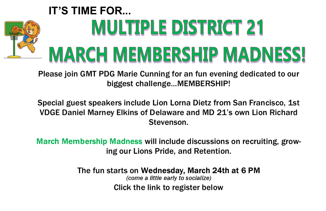 Flyer announcing march membership madness on March 24 at 6PM
