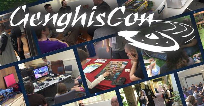 The GenghisCon logo in white, over a collage of pictures of people engaged in activities at GenghisCon